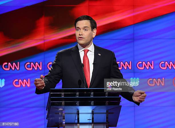 Republican presidential candidates Sen Marco Rubio is seen during the CNN Salem Media Group The Washington Times Republican Presidential Primary...