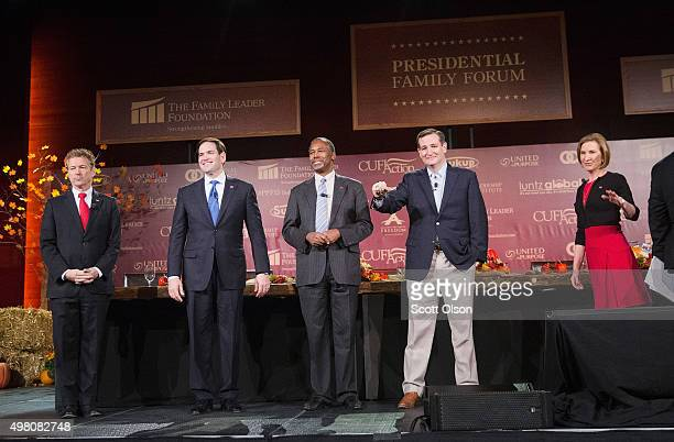 Republican presidential candidates Sen Rand Paul Sen Marco Rubio Ben Carson Ted Cruz and Carly Fiorina arrive for the Presidential Family forum on...