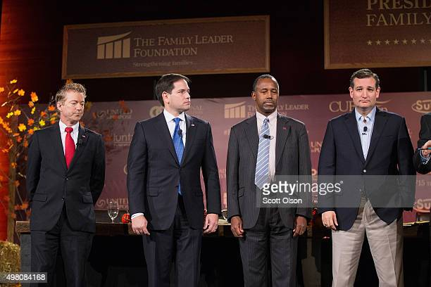 Republican presidential candidates Sen Rand Paul Sen Marco Rubio Ben Carson and Ted Cruz are introduced at the Presidential Family Forum on November...