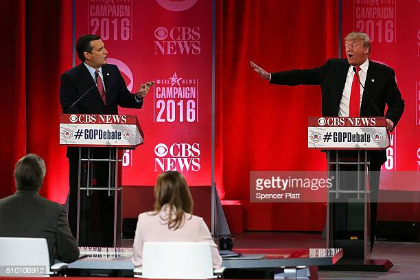 Republican presidential candidates Sen Ted Cruz and Donald Trump participate in a CBS News GOP Debate February 13 2016 at the Peace Center in...