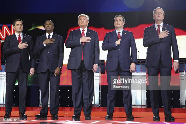 Republican presidential candidates Senator Marco Rubio a Republican from Florida from left Ben Carson retired neurosurgeon Donald Trump president and...