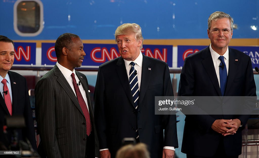 Republican presidential candidates US Sen Ted Cruz Ben Carson Donald Trump and Jeb Bush take part in the presidential debates at the Reagan Library...
