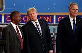Republican presidential candidates US Sen Ted Cruz Ben Carson Donald Trump and Jeb Bush take part in the presidential debates at the Reagan Library...