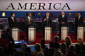 Republican presidential candidates US Sen Ted Cruz Ben Carson Donald Trump Jeb Bush and Wisconsin Gov Scott Walker participate in the presidential...