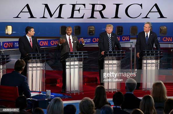Republican presidential candidates US Sen Ted Cruz Ben Carson Donald Trump and Jeb Bush participate in the presidential debates at the Reagan Library...