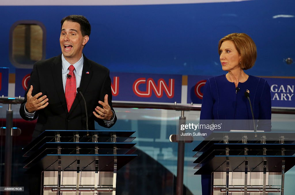 Republican presidential candidates Wisconsin Gov Scott Walker and Carly Fiorina take part in the presidential debates at the Reagan Library on...