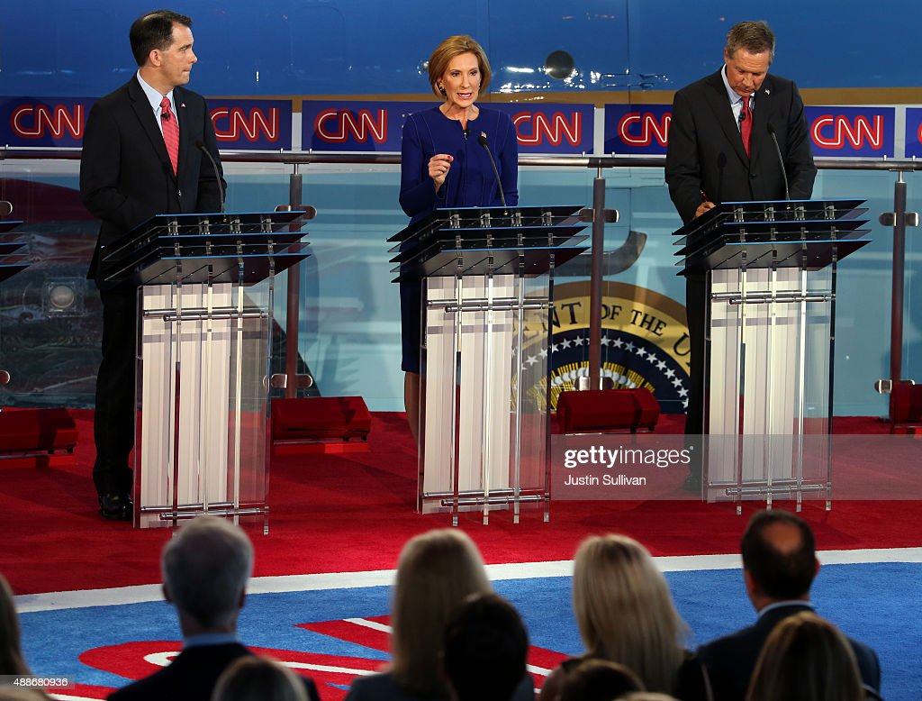 Republican presidential candidates Wisconsin Gov Scott Walker Carly Fiorina and Ohio Gov John Kasich takes part in the presidential debates at the...