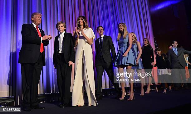 Republican presidential elect Donald Trump arrives with his family on stage to speak during election night at the New York Hilton Midtown in New York...
