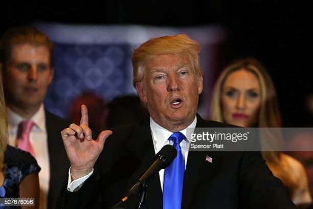 Republican presidential front runner Donald Trump speaks to supporters and the media at Trump Tower in Manhattan following his victory in the Indiana...
