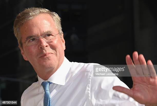 Republican presidential hopeful and former Florida Gov Jeb Bush attends the first taping of 'The Late Show With Stephen Colbert' on September 8 2015...