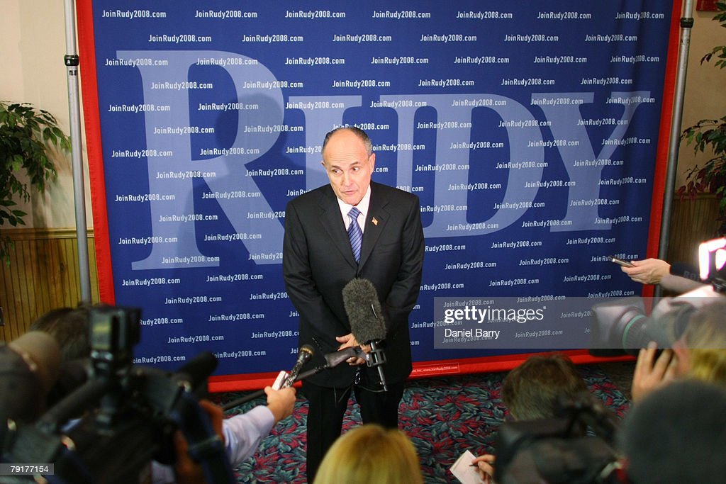 Republican presidential hopeful and former New York City Mayor Rudy Giuliani speaks to members of the media at Three Oaks Ballroom January 23, 2008 in Estero, Florida. Giuliani continues his campaign strategy of concentrating heavily on Florida ahead of the state's January 29 primary.