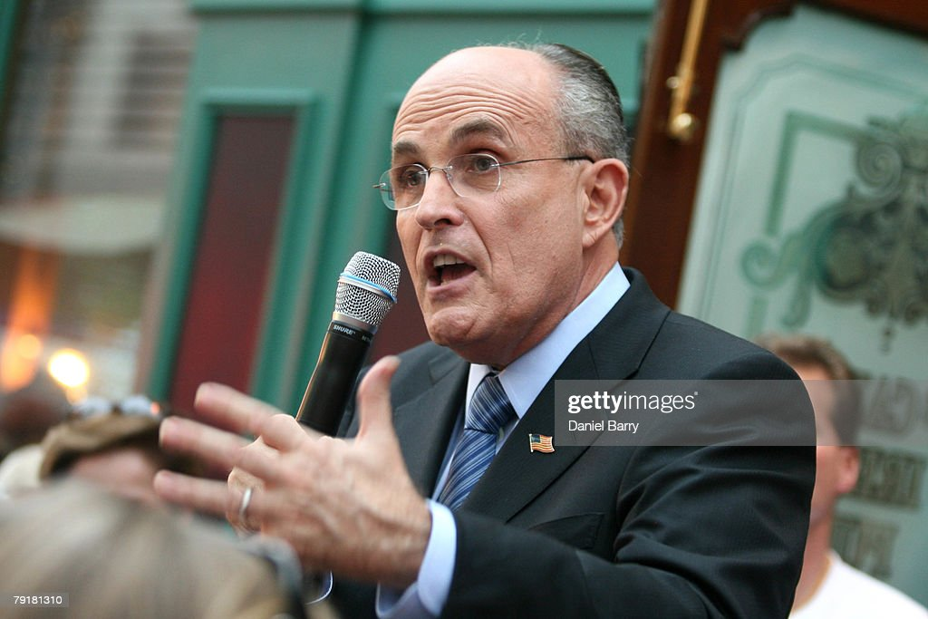 Republican presidential hopeful and former New York City Mayor Rudy Giuliani speaks to supporters at McCabe's Irish Pub & Grill January 23, 2008 in Naples, Florida. Giuliani continues his campaign strategy of concentrating heavily on Florida ahead of the state's January 29 primary.