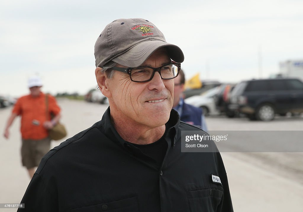 Republican presidential hopeful and former Texas Governor <a gi-track='captionPersonalityLinkClicked' href=/galleries/search?phrase=Rick+Perry+-+Politician&family=editorial&specificpeople=175872 ng-click='$event.stopPropagation()'>Rick Perry</a> attends a Roast and Ride event hosted by freshman Senator Joni Ernst (R-IA) on June 6, 2015 in Boone, Iowa. Ernst is hoping the event, which featured a motorcycle tour, a pig roast, and speeches from several 2016 presidential hopefuls, becomes an Iowa Republican tradition.