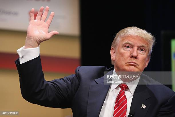 Republican presidential hopeful businessman Donald Trump fields questions at The Family Leadership Summit at Stephens Auditorium on July 18 2015 in...
