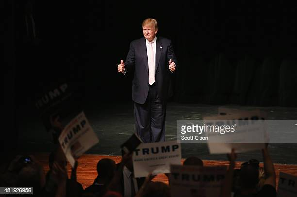 Republican presidential hopeful businessman Donald Trump greets guests gathered for a rally on July 25 2015 in Oskaloosa Iowa During his last visit...