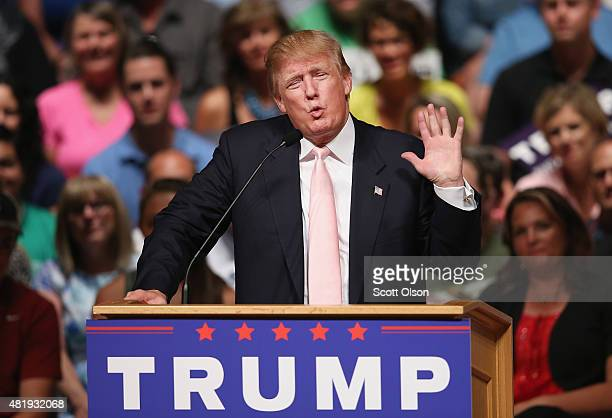Republican presidential hopeful businessman Donald Trump speaks to guests gathered for a rally on July 25 2015 in Oskaloosa Iowa During his last...