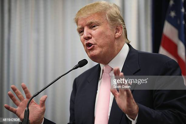Republican presidential hopeful businessman Donald Trump speaks to the press following a rally on July 25 2015 in Oskaloosa Iowa During his last...