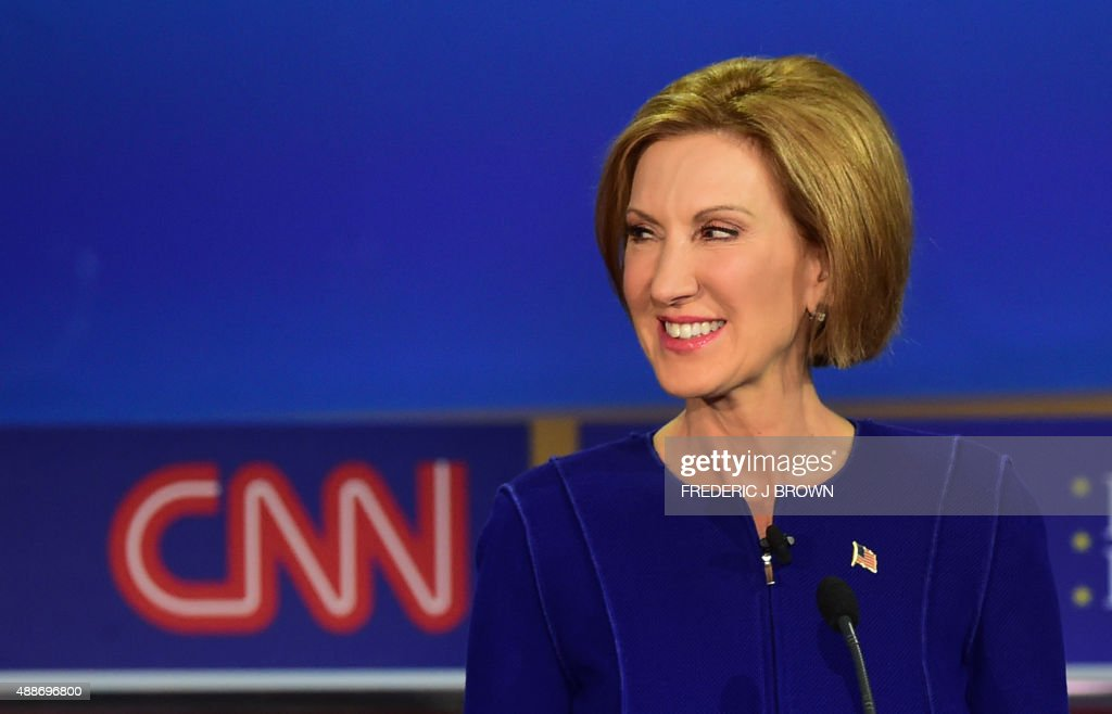 Republican presidential hopeful Carly Fiorina looks on during the Republican presidential debate at the Ronald Reagan Presidential Library in Simi...