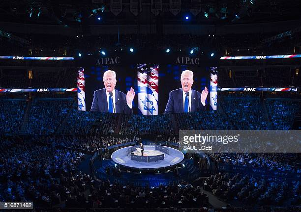 US Republican presidential hopeful Donald Trump addresses the American Israel Public Affairs Committee 2016 Policy Conference at the Verizon Center...