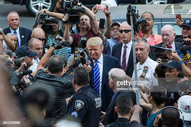 Republican Presidential hopeful Donald Trump arrives at Manhattan Supreme Court to report for jury duty on August 17 2015 in New York City Trump...