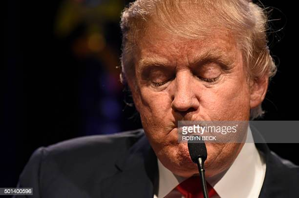 Republican presidential hopeful Donald Trump speaks at a rally December 14 2015 at the Westgate Hotel Resort in Las Vegas Nevada Trump will face off...