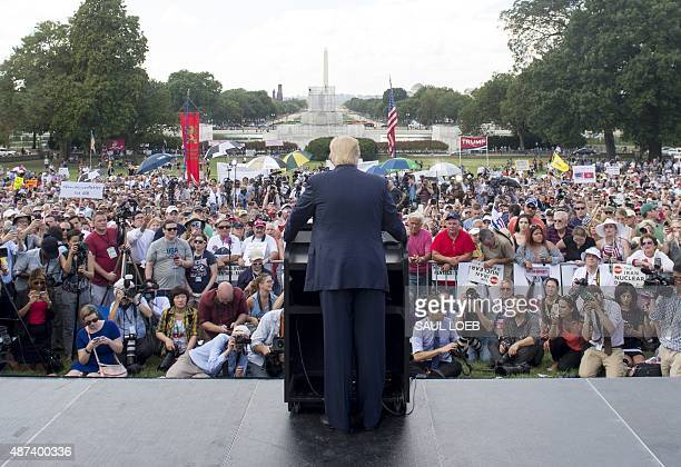 US Republican Presidential hopeful Donald Trump speaks during a Tea Party rally against the international nuclear agreement with Iran outside the US...
