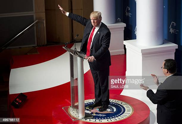Republican Presidential hopeful Donald Trump speaks during the 2016 Republican Jewish Coalition Presidential Candidates Forum in Washington DC...