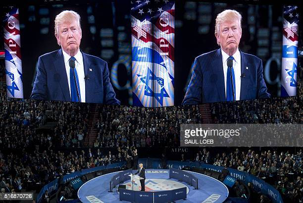 US Republican presidential hopeful Donald Trump speaks during the American Israel Public Affairs Committee 2016 Policy Conference at the Verizon...