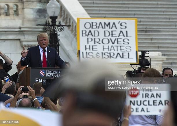 US Republican Presidential hopeful Donald Trump speaks to supporters during a Tea Party rally against the international nuclear agreement with Iran...