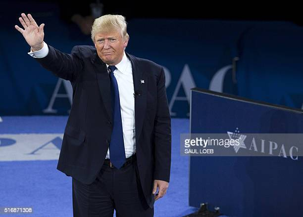 US Republican Presidential hopeful Donald Trump waves after addressing the American Israel Public Affairs Committee 2016 Policy Conference at the...