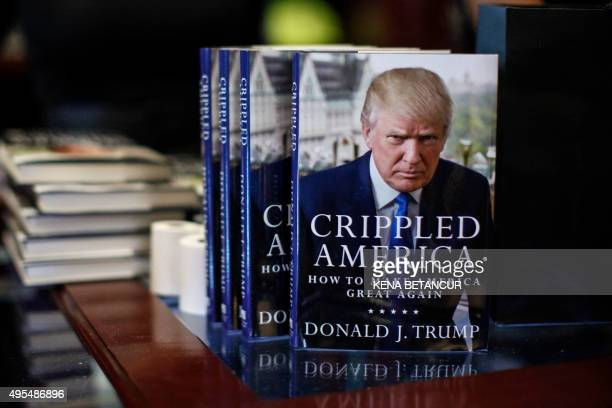 Republican presidential hopeful Donald Trump's new book 'Crippled America How to Make America Great Again' on display at Trump Tower on November 3...