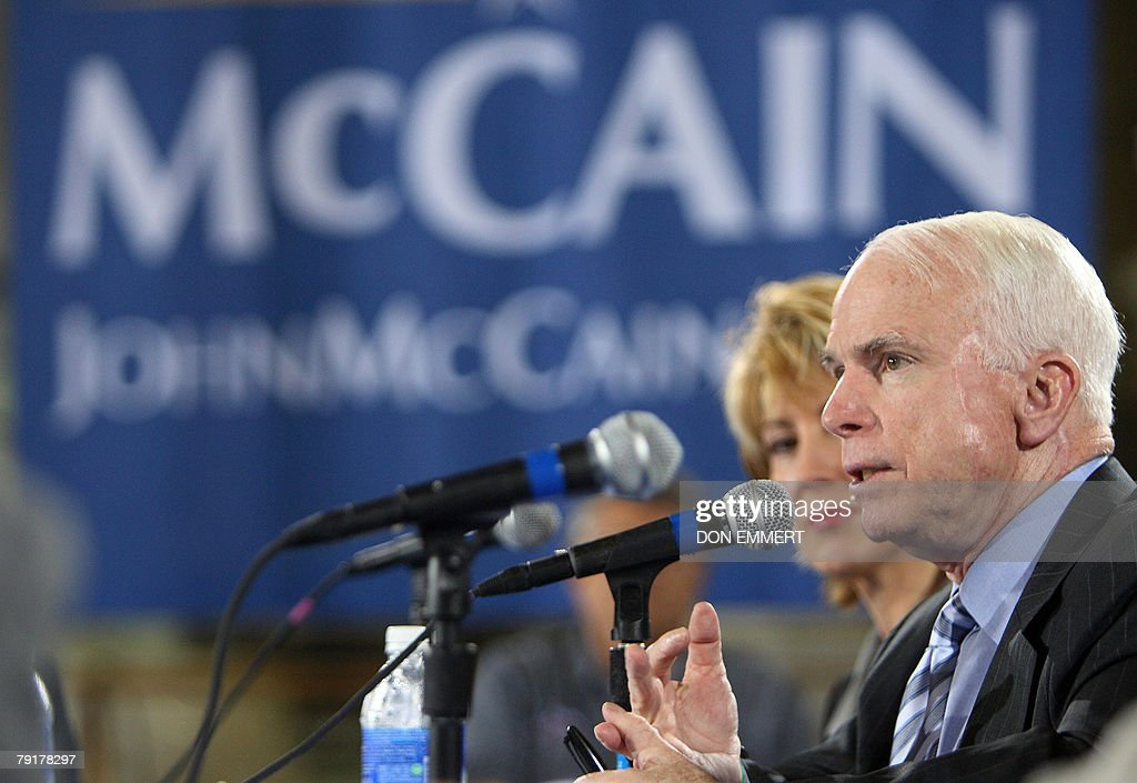 US Republican presidential hopeful John McCain answers a question during an economic roundtable meeting at Baker Manufacturing Company 23 January 2008 during a campaign stop In Orlando, ahead of Florida's 29 January presidential primary. AFP PHOTO/Don EMMERT