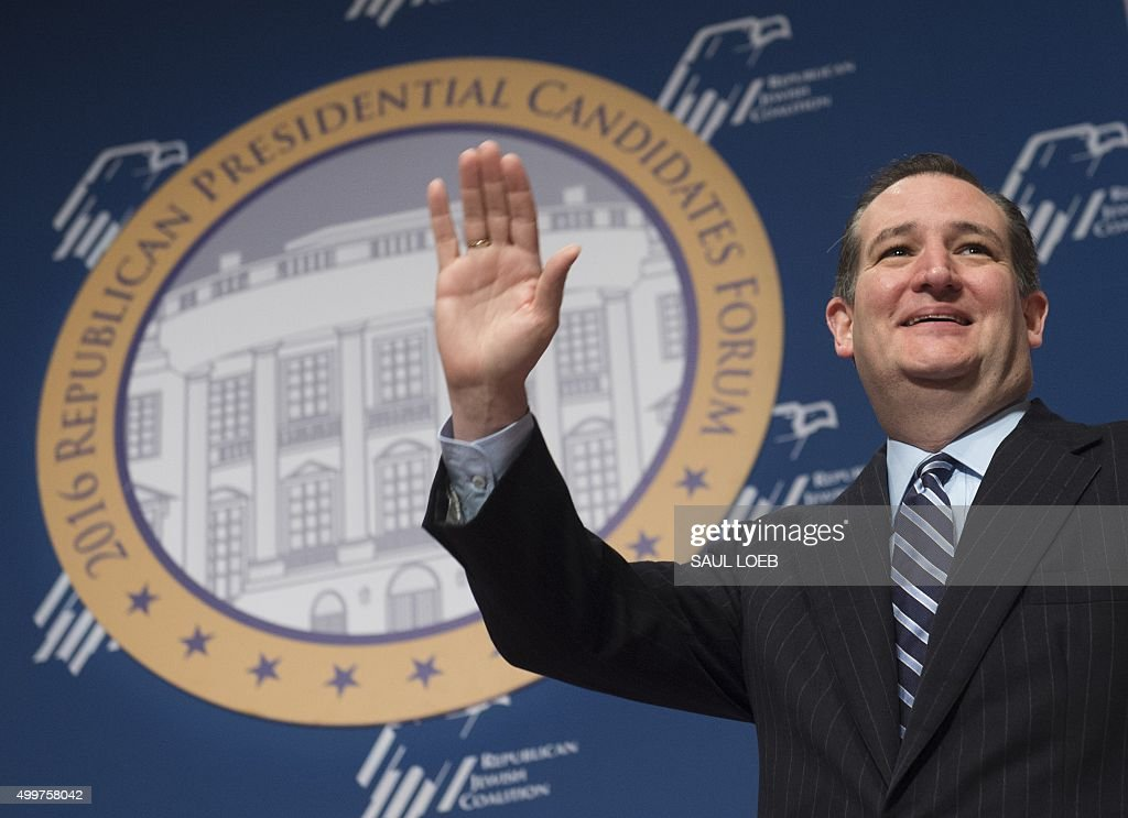 Republican Presidential hopeful Ted Cruz of Texas arrives to speak during the Republican Jewish Coalition Presidential Forum in Washington, DC, December 3, 2015.