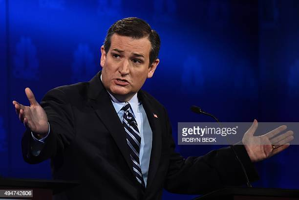 Republican Presidential hopeful Ted Cruz speaks during the CNBC Republican Presidential Debate October 28 2015 at the Coors Event Center at the...