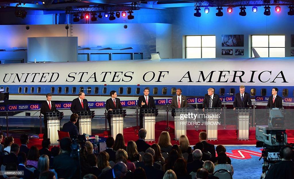 Republican presidential hopefuls Kentucky Sen Rand Paul former Arkansas Gov Mike Huckabee Florida Sen Marco Rubio Texas Sen Ted Cruz retired...