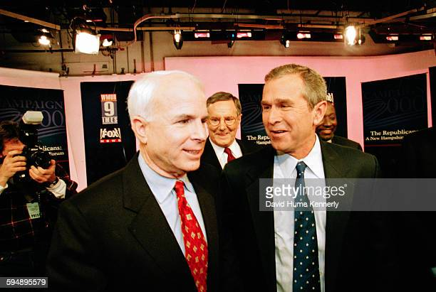 Republican presidential hopefuls — Senator John McCain Steve Forbes Texas Gov George W Bush and Alan Keyes — after the televised 'The Republicans A...