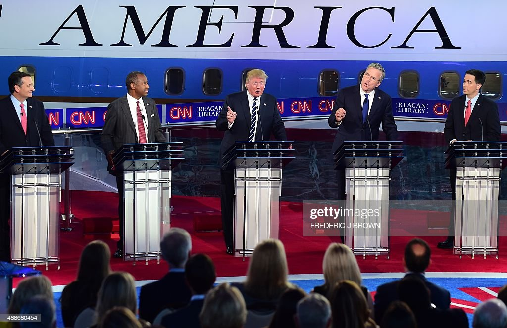 Republican presidential hopefuls Texas Sen Ted Cruz retired neurosurgeon Ben Carson real estate magnate Donald Trump former Florida Gov Jeb Bush and...