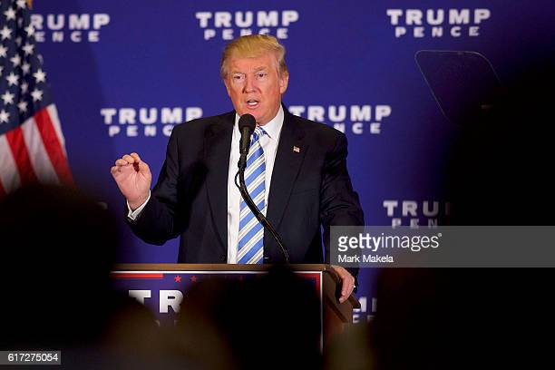 Republican Presidential nominee Donald J Trump holds an event at the Eisenhower Hotel and Conference Center October 22 2016 in Gettysburg...