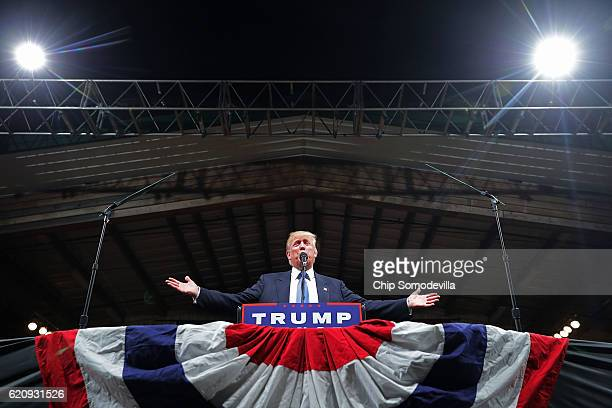 Republican presidential nominee Donald Trump addresses a campaign rally at The Farm on November 3 2016 in Selma North Carolina With less than a week...