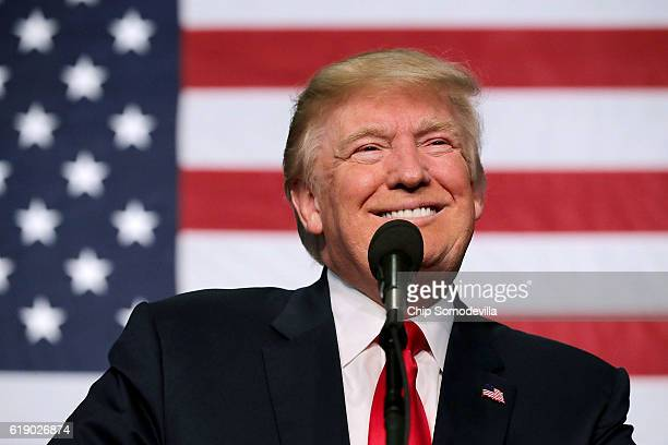 Republican presidential nominee Donald Trump addresses a campaign rally in the Rodeo Arena at the Jefferson County Fairgrounds October 29 2016 in...