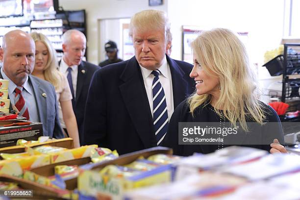 Republican presidential nominee Donald Trump and his campaign manager Kellyanne Conway shop for snack food at a Wawa gas station November 1 2016 in...