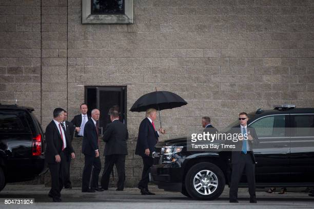 Republican presidential nominee Donald Trump arrives for a rally at the Florida State Fairgrounds in Tampa Florida on Wednesday August 24 2016