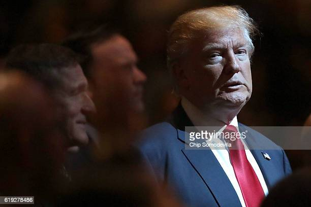 Republican presidential nominee Donald Trump attends a worship service at the International Church of Las Vegas October 30 2016 in Las Vegas Nevada...