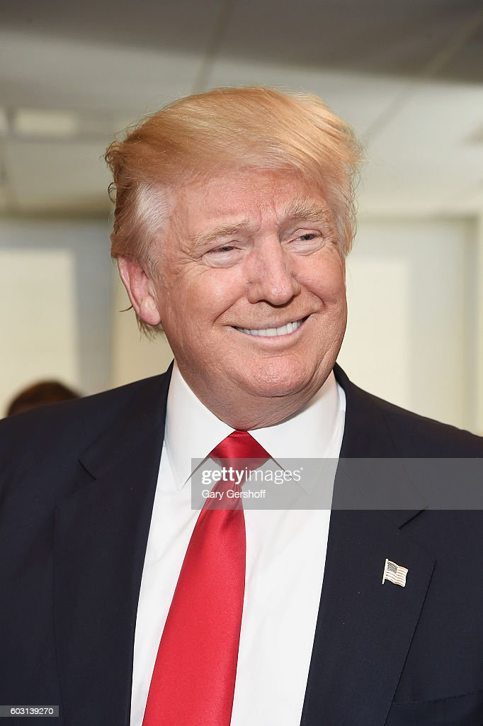 US Republican presidential nominee Donald Trump attends Annual Charity Day hosted by Cantor Fitzgerald, BGC and GFI at BGC Partners, INC on September 12, 2016 in New York City.