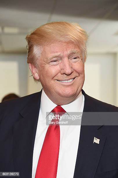Republican presidential nominee Donald Trump attends Annual Charity Day hosted by Cantor Fitzgerald BGC and GFI at BGC Partners INC on September 12...