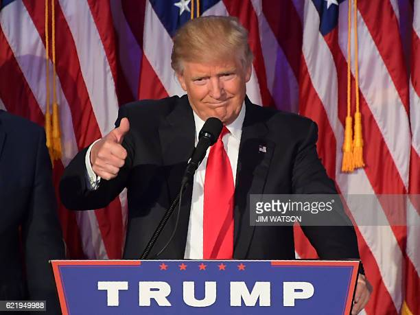 Republican presidential nominee Donald Trump gives a speech during election night at the New York Hilton Midtown in New York on November 8 2016...