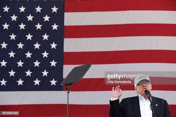 Republican presidential nominee Donald Trump holds a campaign rally at Bayfront Park Amphitheater November 2 2016 in Miami Florida With less than a...