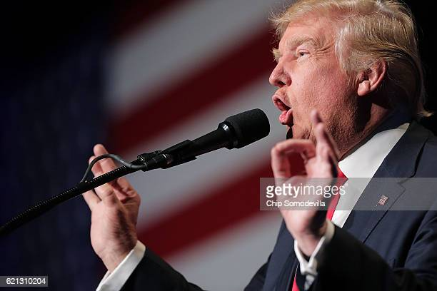 Republican presidential nominee Donald Trump holds a campaign rally the RenoSparks Convention Center November 5 2016 in Reno Nevada With less than a...
