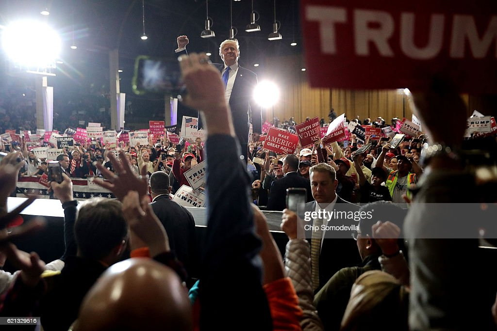 Republican presidential nominee Donald Trump holds a campaign rally at the National Western Complex November 5, 2016 in Denver, Colorado. With less than a week before Election Day in the United States, Trump and his opponent, Democratic presidential nominee Hillary Clinton, are campaigning in key battleground states that each must win to take the White House.