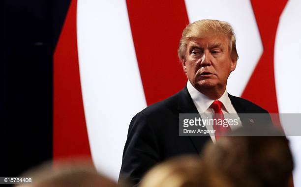 Republican presidential nominee Donald Trump looks on after the third US presidential debate at the Thomas Mack Center on October 19 2016 in Las...
